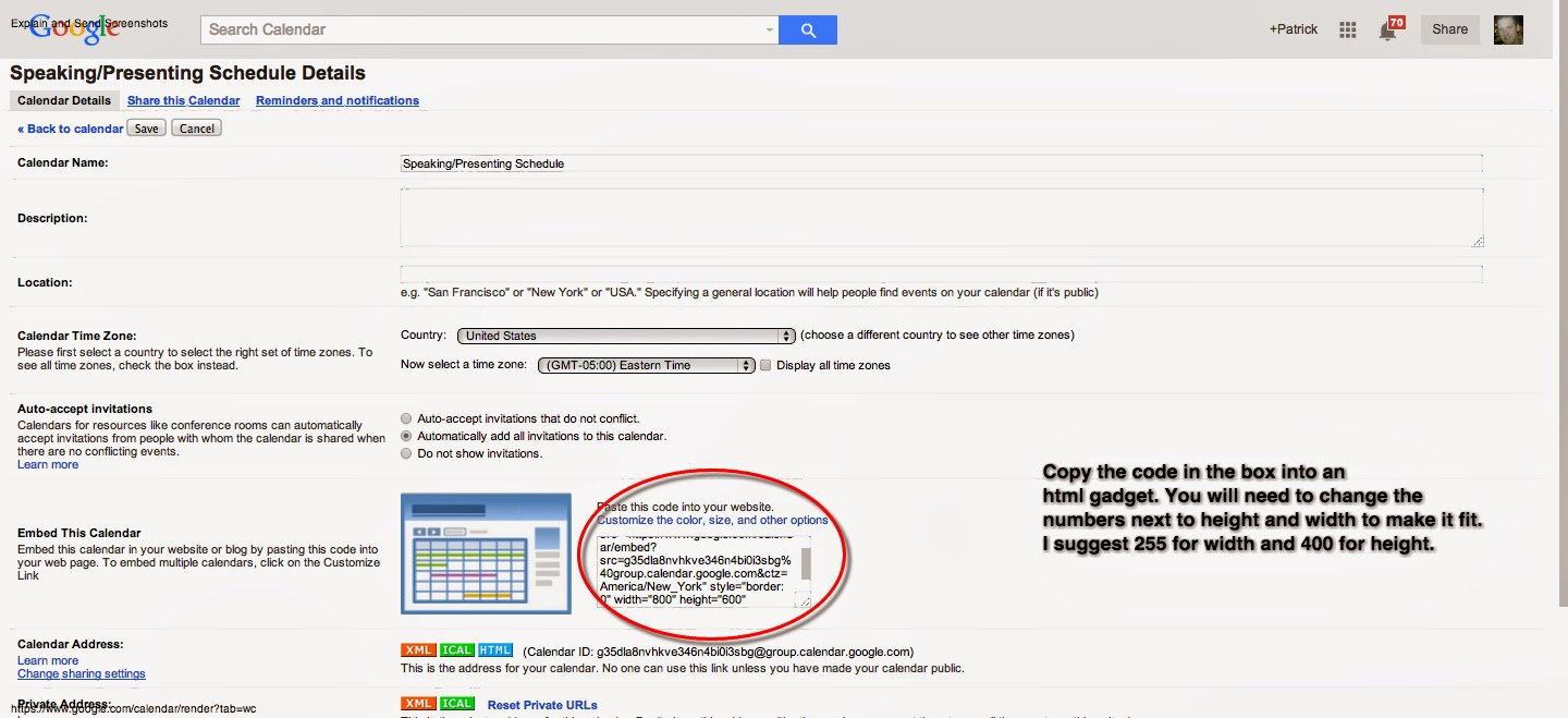 How To Embed Your Google Calendar On Your Blog – My Learning